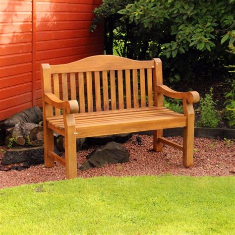 Kingfisher Ornately Curved Teak Bench Outdoor Patio Heavy Curved Outdoor Patio Furniture