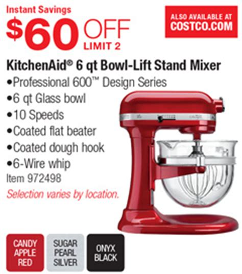 Costco Deal   KitchenAid 6 qt Bowl Lift Stand Mixer   $60 OFF