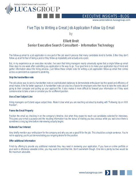 Research Follow Up Letter Five Tips To Writing A Great Application Follow Up Email