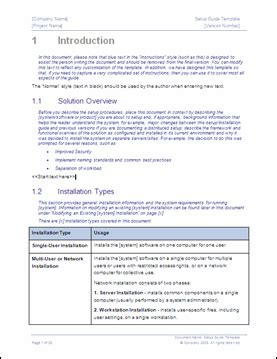 software installation template setup guide template 29 pg ms word template