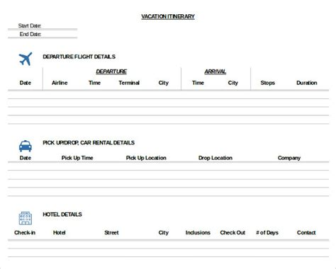 Business Itinerary Templates For Word Planning Business Strategies Travel Planner Template