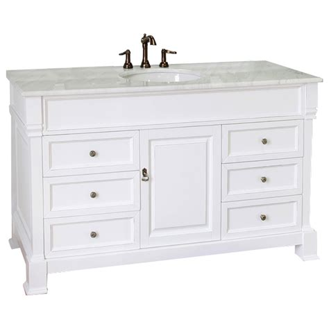 Shop Bellaterra Home White Rub Edge Undermount Single Marble Bathroom Vanity