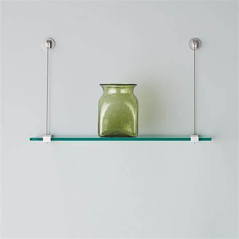 Glass Wall Shelves with Cable Brackets   The Container Store