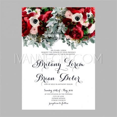 printable invitation wedding cards peony wedding invitation printable template with floral