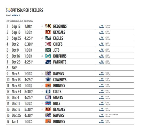 printable entire nfl schedule nfl 2016 schedule printable calendar template 2016
