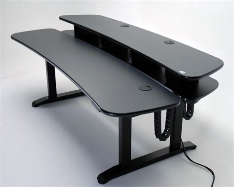 Ergo Duet Dual Surface Height Adjustable Desk With Studio Desk With Rack Mount