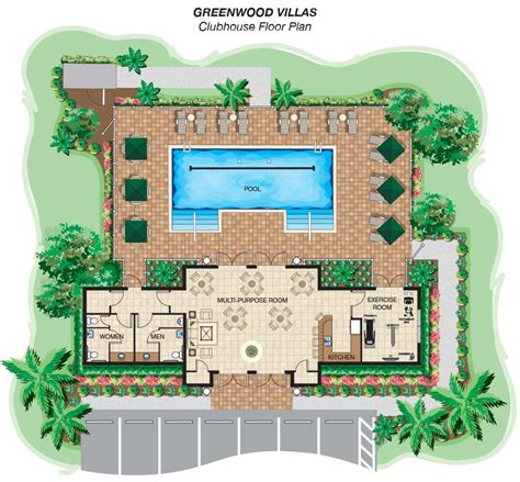 clubhouse layout plan community greenwood villas