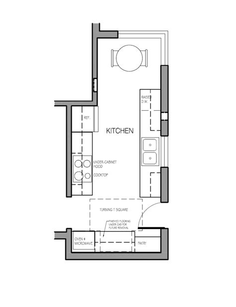 layout of satellite kitchen design for aging design for a life span
