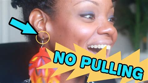 how to wear big earrings with no pulling