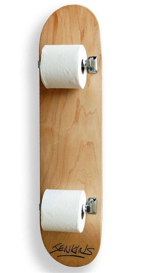 Stand Up Toilet Paper Holder 20 Fun And Creative Skateboard Upcycling Ideas Hative