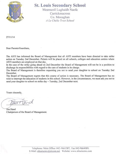 Complaint Letter Hotel Manager Exles Board Of Management Letter To Parents St Louis Cmx