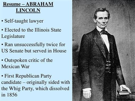 biography of abraham lincoln resume ppt objective to examine the importance of the lincoln