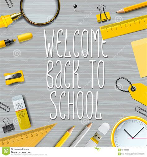 school supplies template vector free welcome back to school template stock vector image 63430086