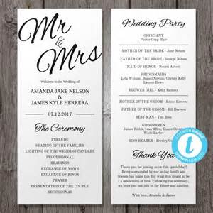 Program Templates Wedding by Printable Wedding Program Template Mr Mrs Instant