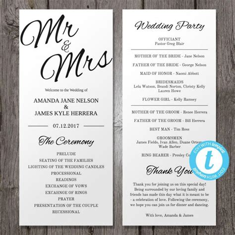 printable wedding program template mr mrs instant