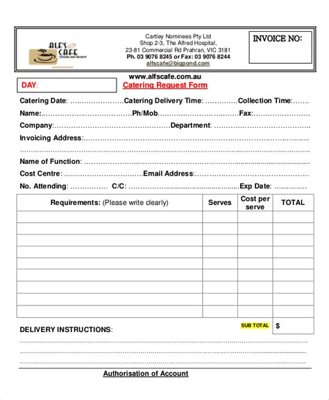 Request For Catering Template 8 Sle Catering Invoice Free Sle Exle Format
