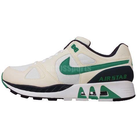 nike casual running shoes nike air stab white green navy nsw mens retro running