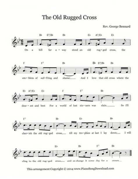 the rugged cross piano sheet the rugged cross free hymn lead sheet with melody chords and lyrics
