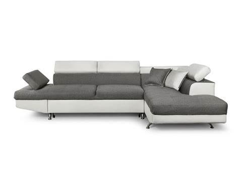 canape angle simili canap 233 d angle en simili cuir et tissu droit blanc gris
