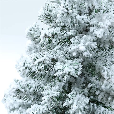 artificial tree snow flocked pine tree 8ft pre lit 100 lights