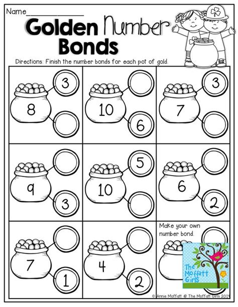 printable number bond cards math worksheets for grade 1 number bonds math number