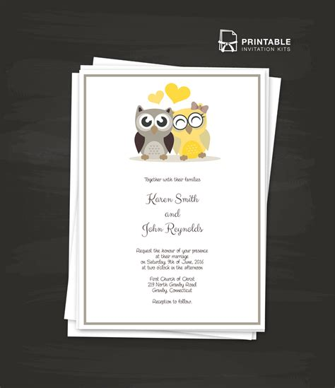 printable invitation kits owls 2017 wedding invitation template wedding invitation