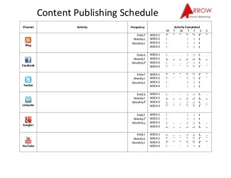Publishing Schedule Template content publishing schedule social media success