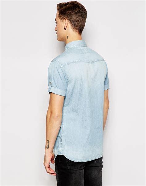 Denim Sleeve Shirt Esprit lyst esprit sleeve denim shirt in blue for