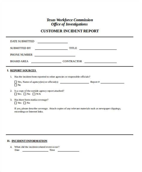 customer incident report form template 31 incident report exles sles