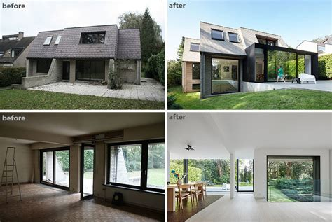 old house before and after renovation before and after the renovation and extension of a flemish villa contemporist
