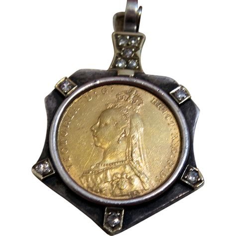 vintage 1891 gold coin pendant with diamonds