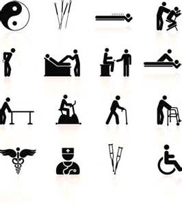 Acupuncture and physical therapy black amp white icon set