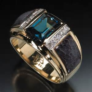 mens ring randy polk designs s rings 9x7mm blue topaz center with inlay and 10 pave