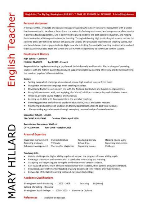 english teacher resume template cv exles teaching