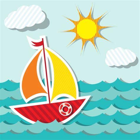 cartoon sailboat vector cartoon colorful sailboat vector material my free
