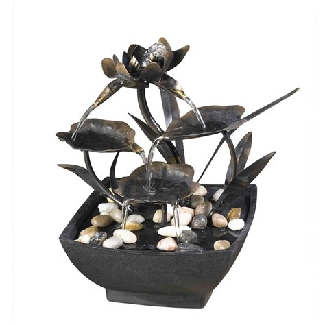 Linon Home Decor Products cadono tabletop metal leaves water fountain free