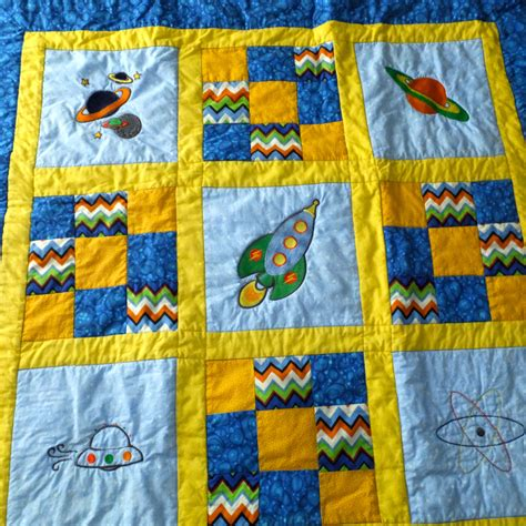 Handmade Baby Boy Quilts - baby boy quilt baby quilt space theme by duckwells