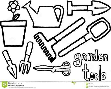 coloring pages of garden tools garden tools black and white clipart clipart suggest