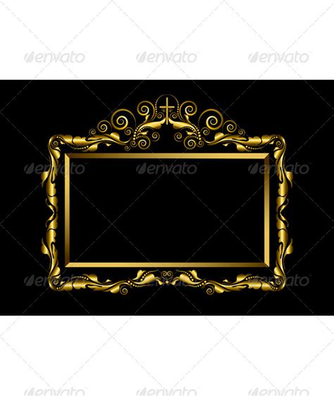 luxury gold frame on black background by tatyanamh graphicriver