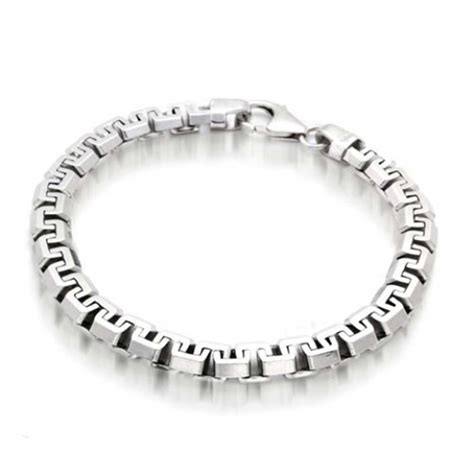 Mens Square Link Chain Bracelet 925 Sterling Silver