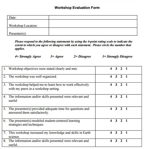 workshop feedback and evaluation form template exle