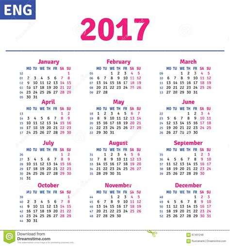 printable calendar english english calendar 2017 stock vector illustration of