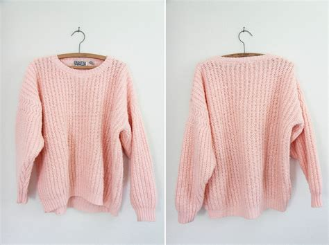pink knit sweater vintage chunky pastel pink knit sweater