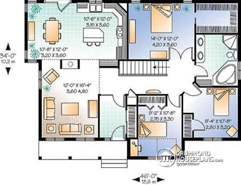budget bungalow 21977dr 1st floor master suite cad house plan w2185 detail from drummondhouseplans com