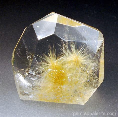 gem sphalerite rutile in quartz 68 64ct sold