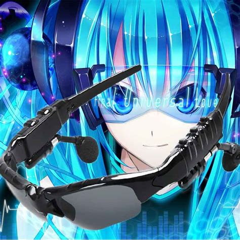 Kaos Anime Miku 01 mllse anime hatsune miku vocaloid smart sun glasses bluetooth 4 1 stereo wearable devices