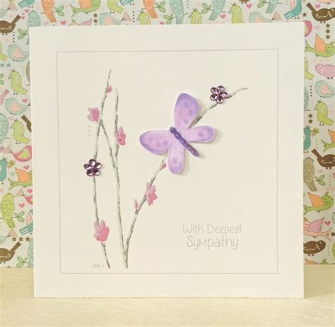 Handmade Cards Uk - handmade sympathy card lilac butterfly three dot cards