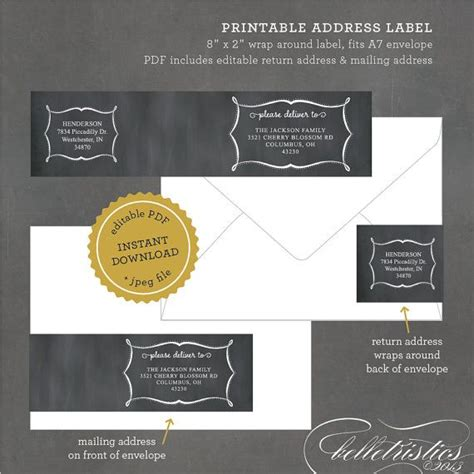 printable address labels wedding chalkboard address labels printable wrap around labels