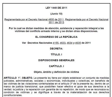 ley 24557 actualizada al 2014 ley 1448 de 2011 unidad para las v 237 ctimas