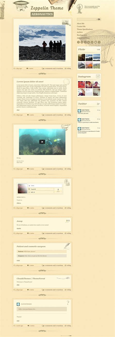 tumblr themes newspaper style zeppelin vintage style tumblr theme by cloudsthemes
